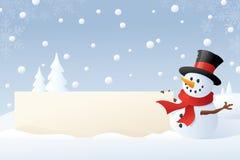 Snowman's Winter Banner Stock Photos