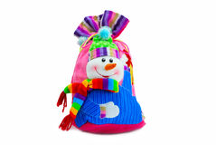 Snowman - sack for christmas presents isolated Royalty Free Stock Photography