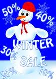 Snowman sale billboard Stock Photo