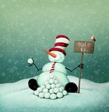 Snowman sale. Holiday greeting card with  Snowman sale for Christmas or New Year . Computer graphics Stock Photography
