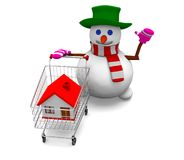 Snowman sale house Royalty Free Stock Photos