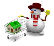 Snowman sale house Royalty Free Stock Photography