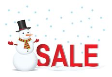 Snowman with sale label Royalty Free Stock Photos