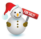 Snowman with a for sale sign illustration Stock Photo