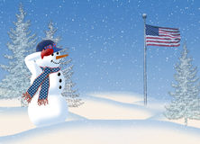 Snowman Saluting American Flag Stock Images