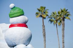 Snowman in San Diego. Watching at palm groove Royalty Free Stock Image