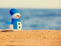 Snowman on sand Stock Images