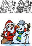 Snowman and santa. Claus isolated on the white background Stock Photography