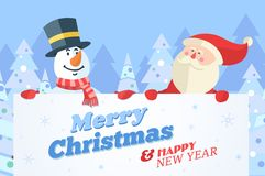 Snowman and Santa with banner. Christmas vector background Stock Images