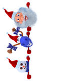 Snowman, santa and blue horse with a report Royalty Free Stock Photo