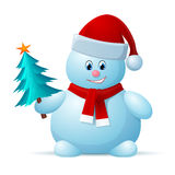 Snowman with Santa Cap and Christmas Tree Royalty Free Stock Images
