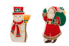 Snowman and Santa Claus Stock Image