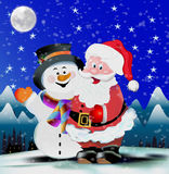 Snowman and Santa Claus Stock Images