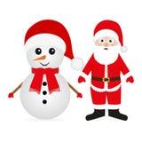 Snowman and Santa Claus Stock Photography