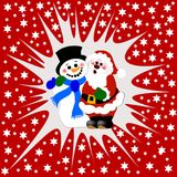 Snowman and Santa Claus. Christmas themed background with a snowman and Santa Claus hugging Royalty Free Stock Image
