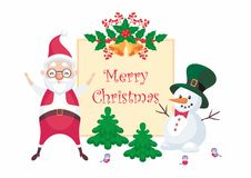 Snowman and Santa Claus Royalty Free Stock Images