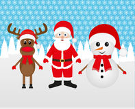 Snowman, Santa Claus and Christmas reindeer Royalty Free Stock Images