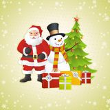 Snowman, Santa Claus and Christmas tree Stock Image