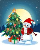 Snowman With Santa Claus Costume Playing The Violin With Christmas Tree And Full Moon At Night Background For Your Design Vector I Royalty Free Stock Images