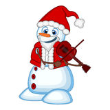 Snowman with santa claus costume playing the violin for your design vector illustration Royalty Free Stock Photography