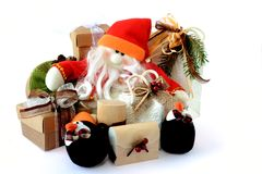 Snowman Santa Claus with gifts 1 Stock Photos