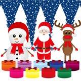 Snowman, Santa Claus, reindeer Stock Images