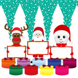 Snowman, Santa Claus, reindeer with banners Stock Image