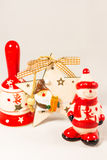 Snowman, Santa claus star, bell and wooden box, concept of Merry christmas and Happy New Year Royalty Free Stock Photography
