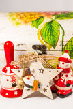 Snowman, Santa claus star, bell and wooden box, concept of Merry christmas and Happy New Year Royalty Free Stock Image