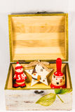 Snowman, Santa claus star, bell and wooden box, concept of Merry christmas and Happy New Year Royalty Free Stock Photos
