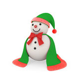 Snowman in santa claus style. Cute snowman wearing with cloth and fur like santa style, clipping path included Royalty Free Stock Photography