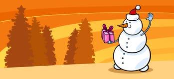 Snowman Santa with gift cartoon card Royalty Free Stock Photo
