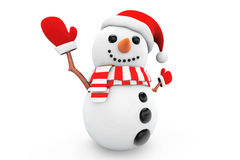 Snowman with santa hat and gloves Royalty Free Stock Image