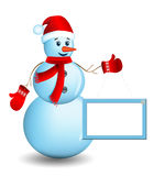 Snowman with santa hat. Snowman with santa hat and sign board 2014 stock illustration