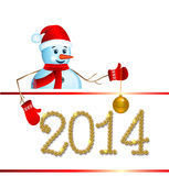 Snowman with santa hat. Snowman with santa hat and sign board 2014 vector illustration