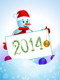 Snowman with santa hat. Snowman with santa hat and sign board 2014 royalty free illustration