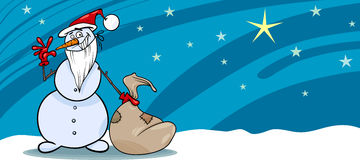 Snowman santa with sack greeting card Stock Images