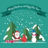Snowman, Santa, snow, Christmas trees. Gifts under the Christmas tree. Christmas and New Year card in flat style stock illustration