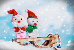 Snowman and Santa toy Royalty Free Stock Photography