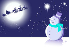 Snowman and Santa Winter Scene Blue Royalty Free Stock Images