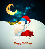 Snowman with Santas Hat with Large Gift Bag and Bi Royalty Free Stock Photography