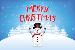 Snowman saying Merry christmas with snowfall vector Royalty Free Stock Images