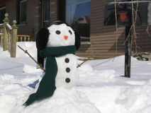 Snowman in Scarf. Snowman wearing a scarf and has Oreo Cookie eyes, carrot nose and earmuffs Stock Photo