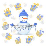 Snowman in scarf, boots, mittens, and a hat and with garlands in their hands. postcard for the new year and Christmas. Isolated objects on white background stock illustration