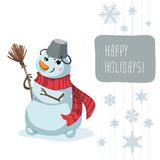 Snowman Scarf Broom Template Royalty Free Stock Photos