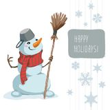 Snowman Scarf Broom Template Stock Images