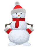 Snowman with scarf, hat and scarf on white Stock Image