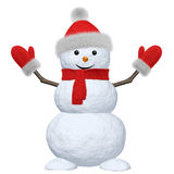 Snowman with scarf, hat and scarf on white Royalty Free Stock Photography