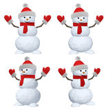 Snowman with scarf, hat and scarf on white set Royalty Free Stock Image