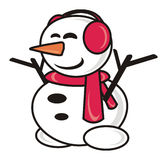Snowman with a scarf Stock Images